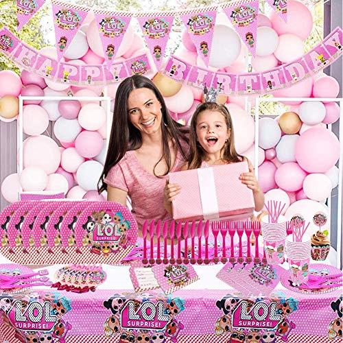 Image 6 - REYOK Party Supplies Set,78 Pcs Fournitures de Fête Vaisselle LOL Surprise Dolls,Enfants de Décoration Happy Birthday Party Vaisselle,Tasses Serviettes Nappe Papier Bannière-Servir 10 Invités