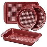 Farberware Nonstick Bakeware Set with Nonstick Cookie Sheet / Baking Sheet, Baking Pan and Cake Pans - 4 Piece, Red