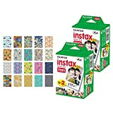 2X Fujifilm instax Mini Instant Film (40 Exposures) + 20 Sticker Frames for Fuji Instax Prints Travel Package