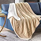 Hyde Lane Comfy Sherpa Throw Blanket for Couch and Bed | 2 Way Reversible - Sherpa & Berber - Plush Fleece Soft Throw Blankets with Fuzzy Faux Fur (Beige, 50 x 60)