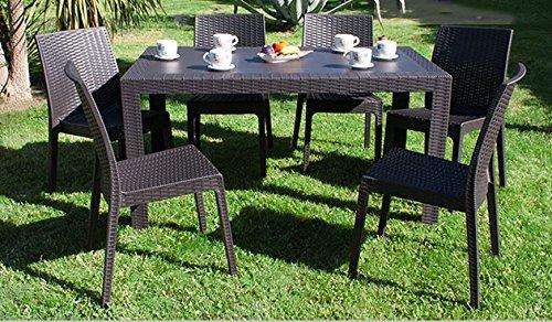 DIMAPLAST Set Garden Tavolo e 6 Sedie da Giardino Bianco