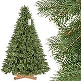 FairyTrees Artificial rbol de Navidad Picea Real Premium, Material Mix PU y PVC, el Soporte de Madera, 180cm