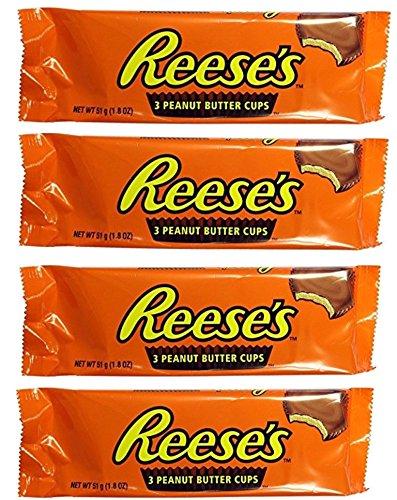 (4x51g) Hershey's Reese's 3 peanut butter cup al La mantequilla de maní 51g hersheys reeses (4x51g) chocolate