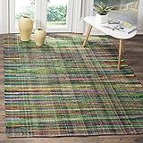Safavieh Rag Rug Collection RAR240E Handmade Boho Stripe Cotton Area Rug, 8' x 10', Green / Multi