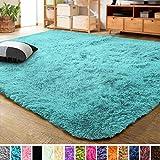 LOCHAS Ultra Soft Indoor Modern Area Rugs Fluffy Living Room Carpets for Children Bedroom Home Decor Nursery Rug 2x3 Feet, Blue