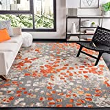 Safavieh Madison Collection MAD425H Boho Abstract Distressed Area Rug, 8' x 10', Grey/Orange
