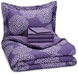 AmazonBasics 5-Piece Light-Weight Microfiber Bed-In-A-Bag Comforter Bedding Set - Twin or Twin XL, Purple Floral
