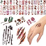 300 Halloween Temporary Tattoos Blood Wound Bleeding Scar for Halloween Makeup, Zombie Makeup,Party Cosplay Costume, Looks Real on Face and Body, Face Decals Prank Zombies Party Supplies