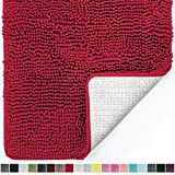 Gorilla Grip Original Luxury Chenille Bathroom Rug Mat, 30x20, Extra Soft and Absorbent Shaggy Rugs, Machine Wash Dry, Perfect Plush Carpet Mats for Tub, Shower, and Bath Room, Red