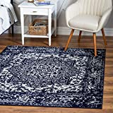 Rugs.com Arlington Collection Rug – 5 Ft Square Navy Blue Medium-Pile Rug Perfect for Living Rooms, Kitchens, Entryways