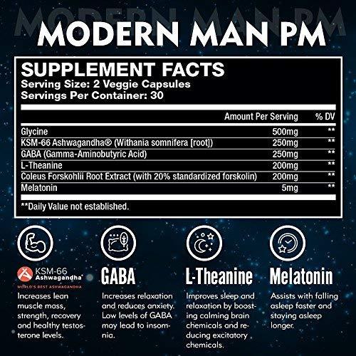 Modern Man PM Fat Burner - Sleep Aid, Weight Loss & Testosterone Booster for Men, Best Night Time Metabolism Booster & Caffeine Free Sleep Supplement | Burn Belly Fat & Build Lean Muscle, 60 Pills 2