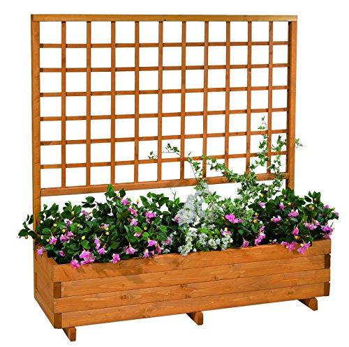 GASPO Blumenkasten mit Rankgitter Hellbrunn   Honig-Farben, aus massivem Holz   L 136 x B 37 x H 140, Pflanzkübel für Balkon und Garten