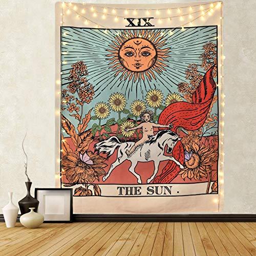 Amknn Tarot tapiz de pared, diseño de la luna, la estrella y el sol, tapiz medieval, para decoración de recámara, hogar, Sun Tapestry, 150cmx130cm