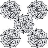 5 Pieces 40 Inch Black Spider Halloween Lace Tablecloth, Spider Web for Halloween Table Decorations