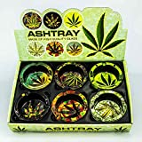 Ashtray Mariuana Leaf Design Round Glass- 6 Piece Assorted Set - Weed Hemp Pot Cannabis 420 Party Deluxe Set