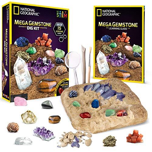 NATIONAL GEOGRAPHIC Mega Gemstone Dig Kit – Dig Up 15 Real...