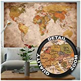 GREAT ART Mural De Pared – Viejo Mapa Del Mundo – Mirada Usada Globo Continentes Atlas Retro...