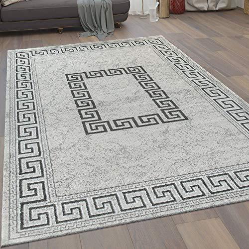 Moderno Tappeto Soggiorno Pelo Corto Motivo Meandro Bordura in Grigio Nero, Dimensione:160x220 cm