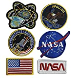 Bundle 6 Pcs Tactical Flag Patch - Space Fans USA NASA Patch Embroidered Morale Lot Military Embroidered Patches (C-6 Pcs Velcro Hook Backing)