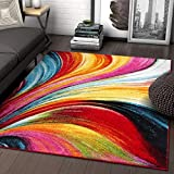 Aurora Multi Red Yellow Orange Swirl Lines Modern Geometric Abstract Brush Stroke Area Rug 3x5 ( 3'3' x 5' ) Easy Clean Fade Resistant Shed Free Contemporary Painting Art Stripe Thick Soft Plush