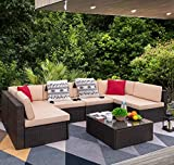Devoko 7 Pieces Outdoor Sectional Sofa All-Weather Patio Furniture Sets Manual Weaving Wicker Rattan Patio Conversation Sets with Cushion and Glass Table (Beige)