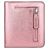 RFID Blocking Wallet Women's Small Compact Bifold Leather Purse Front Pocket Mini Wallet (Rose Gold)