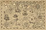 Muralo Papier Peint Carte au trésor 240 x 360 Vinyle Moderne Voyage...