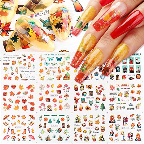 Fall Nail Art Stickers Decals Fall Nail Art Supplies Nail Foil Autumn Colors Water Transfer Nail Accessories 12 Design Maple Leaf Scarecrow Cute Animal Fall Butterfly Nail Designs for Acrylic Nails