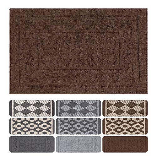 Indoor Doormat Front Door Mat Non Slip Rubber Backing Super Absorbent Mud and Snow Magic Inside Dirts Trapper Mats Entrance Floor Rugs Shoes Scraper Machine Washable Carpet - 24