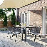 SONGMICS Gartentisch, Glas, Balkontisch rechteckig Outdoor Picknick Party Tischplatte aus Hartglas - 2