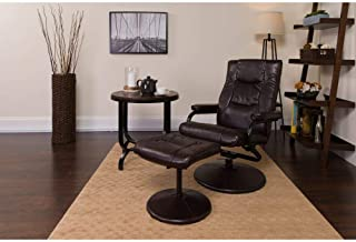 Flash Furniture Contemporary Multi-Position Recliner and Ottoman with Wrapped Base in Brown Leather
