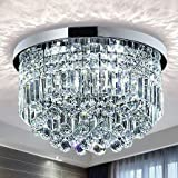 Saint Mossi Modern K9 Crystal Raindrop Chandelier Lighting Flush Mount LED Ceiling Light Fixture Pendant Lamp for Dining Room Bathroom Bedroom Livingroom 9 E12 LED Bulbs Required Height 11 x Width 20