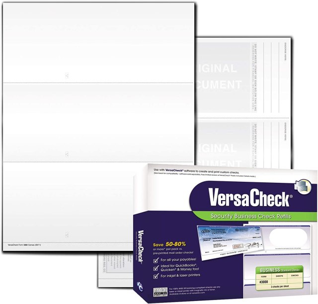 VersaCheck Security Business Check Refills: Form #27 Business Standard -  White Canvas - 27 Sheets