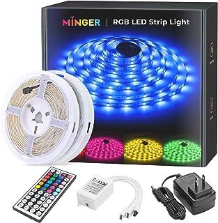 MINGER LED Strip Lights Kit, 32.8ft Waterproof 5050 RGB LED Strips Lighting 10m Flexible..