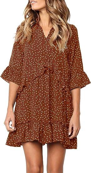 brown red polka dott dress
