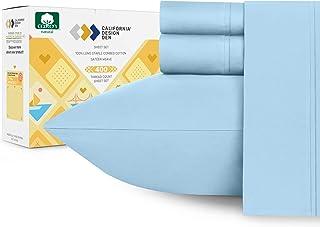 California Design Den 400 Thread Count 100% Cotton Sheet Set, Sky Blue Queen Sheets 4..
