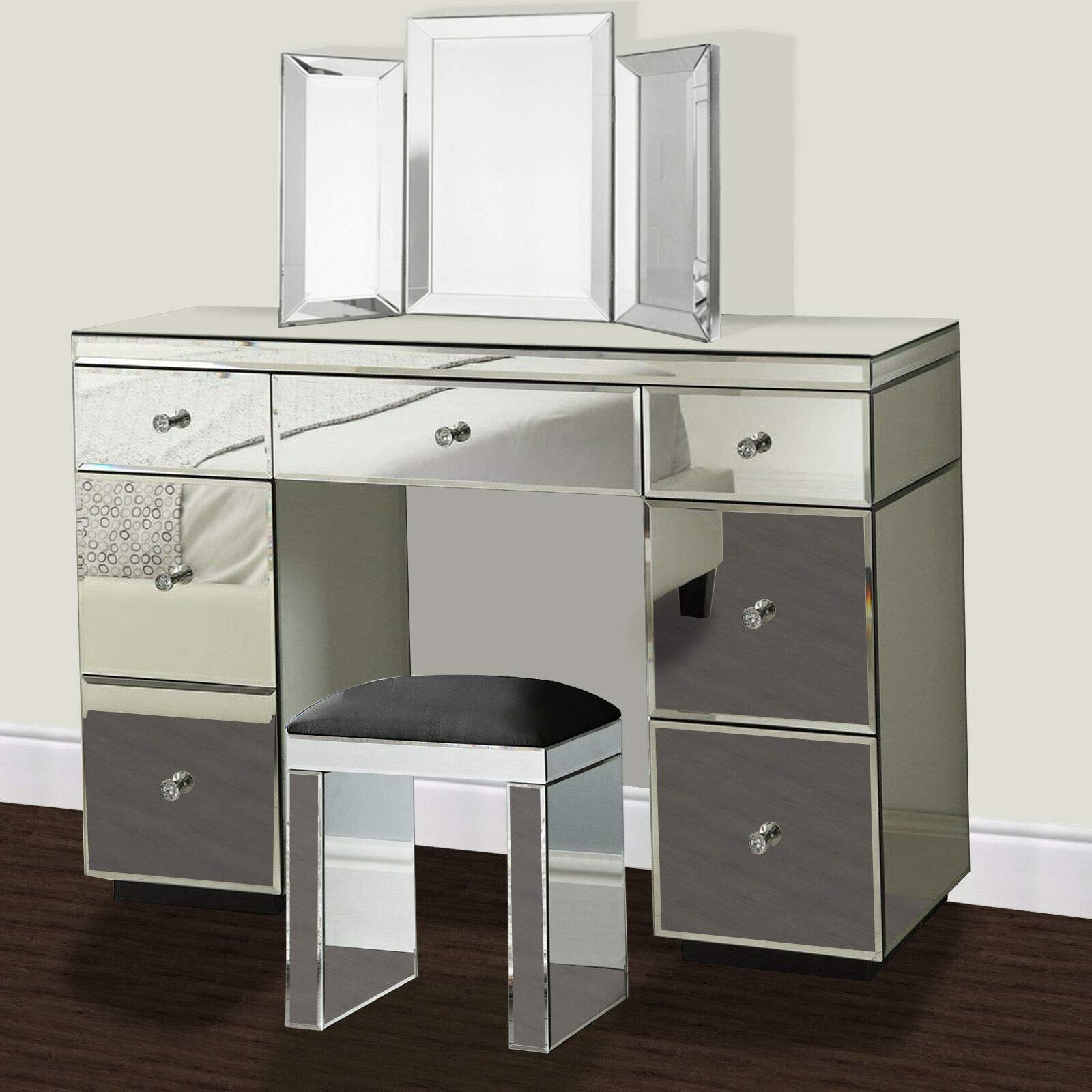Glass Mirrored Furniture Dressing Table With Drawer Console Bedroom With Bevelled Mirror And Stool Amazon Co Uk Kitchen Home