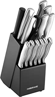 Farberware 5152497 Stamped 15-Piece High-Carbon Stainless Steel Knife Block Set, Steak Knives