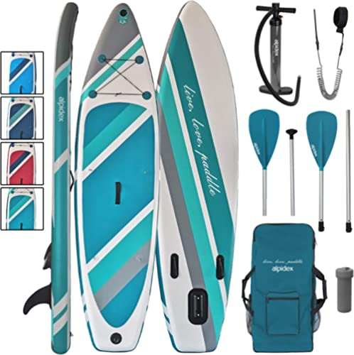 ALPIDEX Stand Up Paddle Board 320 x 76 x 15 cm Charge Max 130 kg Sup Planche Gonflable iSup Leger Robuste Ensemble Dé...