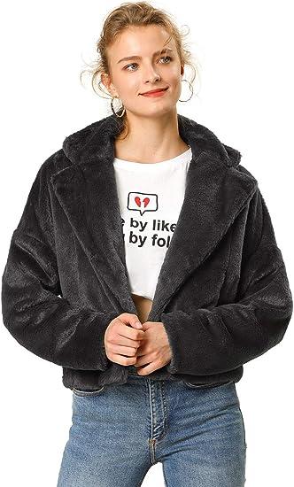 black faux fur jacket cute cool sale