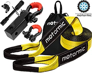 """motormic Tow Strap Recovery Kit – 3"""" x 30ft (30,000 lbs.) Rope + 2"""" Shackle.."""