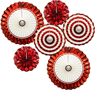 ADLKGG Hanging Paper Fans Party Set, Gold Red Round Pattern Paper Garlands Decoration for..