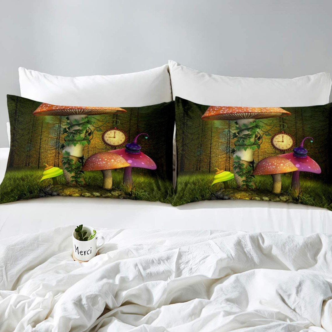 Buy Nursery Mushroom Bedding Set Kids Fairy Forest Comforter Cover Magic Lilliputian Cartoon Fungus Plant Duvet Cover Anime World Clock Fantasy Garden Bedclothes 3pcs Queen Size Green Child Room Decor Online In