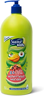 Suave Kids 3 in 1 Shampoo Conditioner Body Wash For Tear-Free Bath Time, Watermelon..