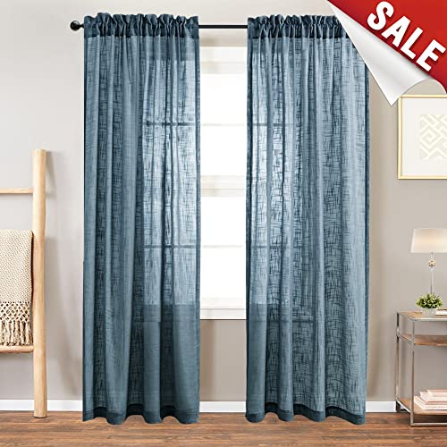 Sheer Curtain Panels For Bedroom Curtain Rod Pocket Linen Like Textured Window Curtains  Inches Long