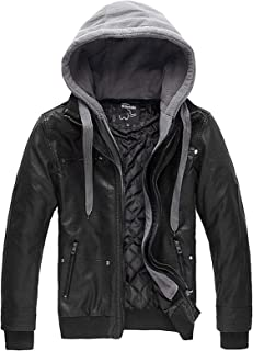 Wantdo Men's Faux Leather Jacket with Removable Hood Motorcycle Jacket Vintage Warm Winter Coat