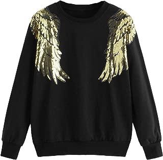 ROMWE Women's Wings Graphic Print Sequin Pullover Sweatshirt Top