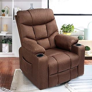 Esright Coffee Fabric Massage Recliner Chair 360 Degrees Swivel Heated Ergonomic Lounge Chair