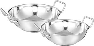 Amazon Brand - Solimo Stainless Steel Induction Bottom Kadhai Set (2 pieces, 2000ml and 3600 ml)