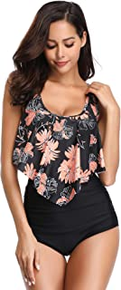Swimsuit for Women Two Piece Bathing Suit Top Ruffled Racerback High Waisted Tankini